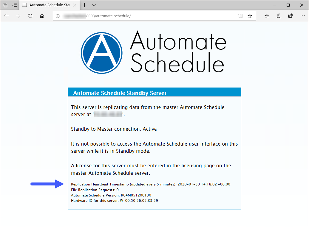 Automate Schedule Standby Server page