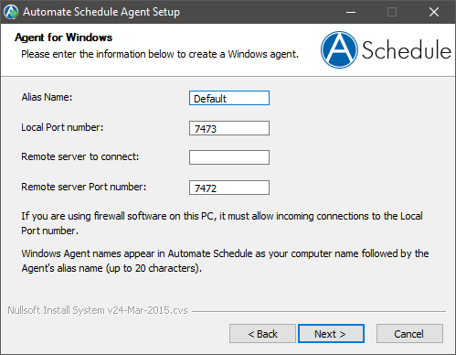 Creating the default agent using the Automate Schedule Agent Setup dialog box.