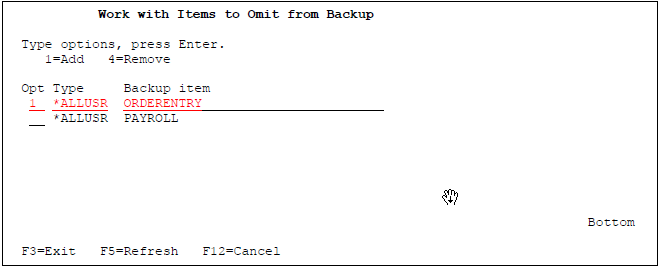 Work with Items to Omit from Backup