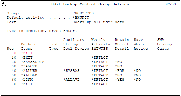 Edit Backup Control Group Entries