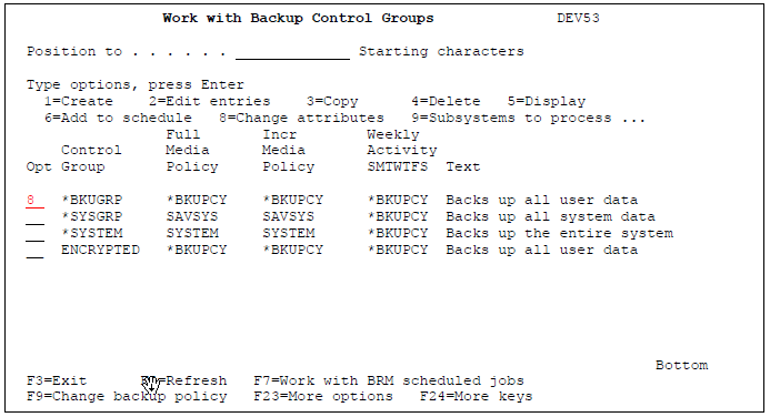 Work with Backup Control Groups