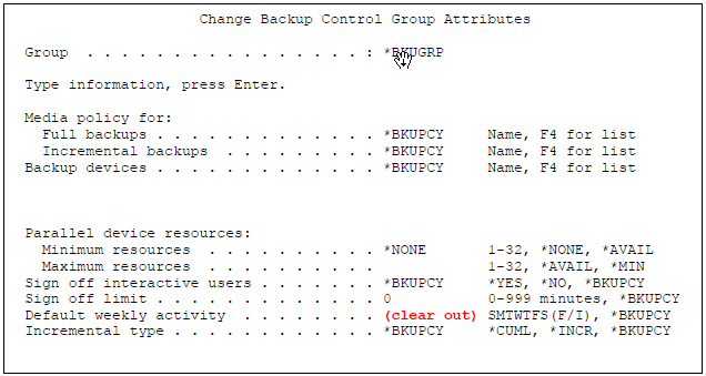Change Backup Control Group Attributes