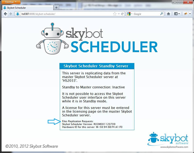 Skybot Scheduler page that mentions the standby server.