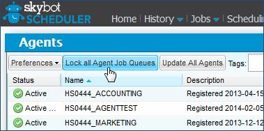 Lock all agent job queues