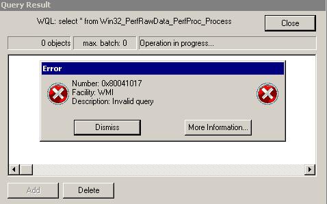 0x80041017 Invalid query
