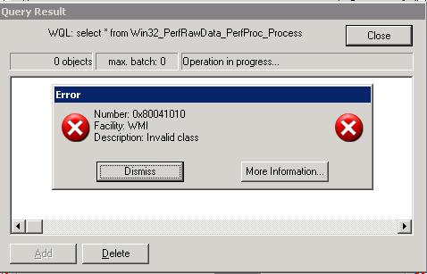 0x80041010 Invalid class