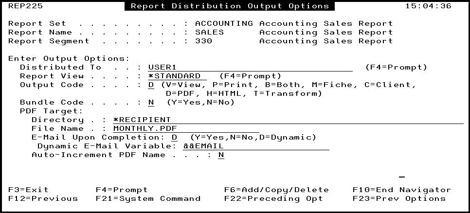 Using the REPSETVAR Command and Advanced Segment OPAL Code