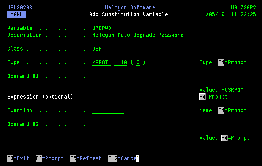 Add Substitution Variable - Upgrade Password