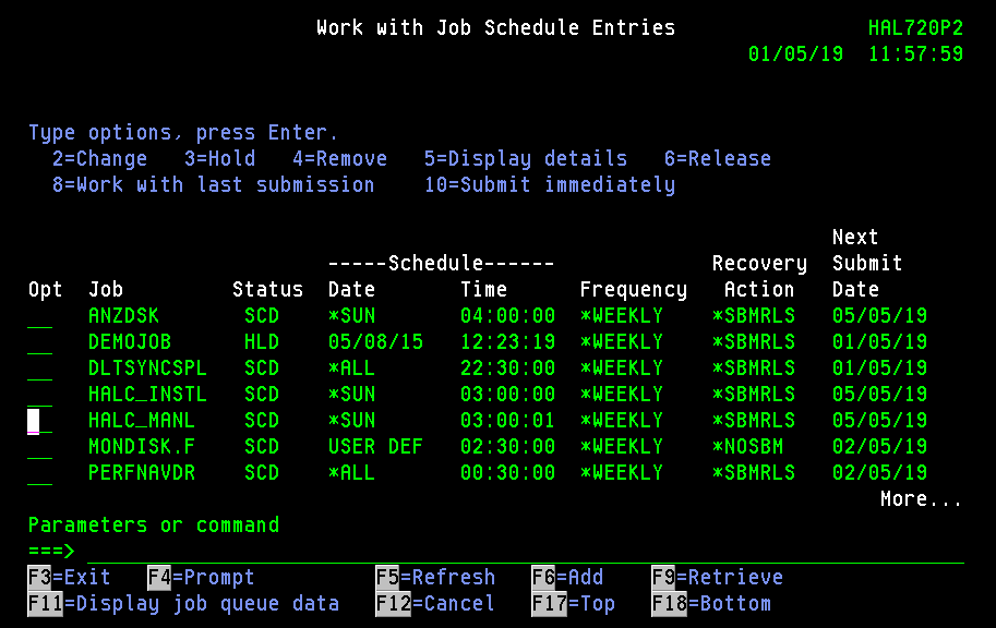 Work with Job Schedule Entries