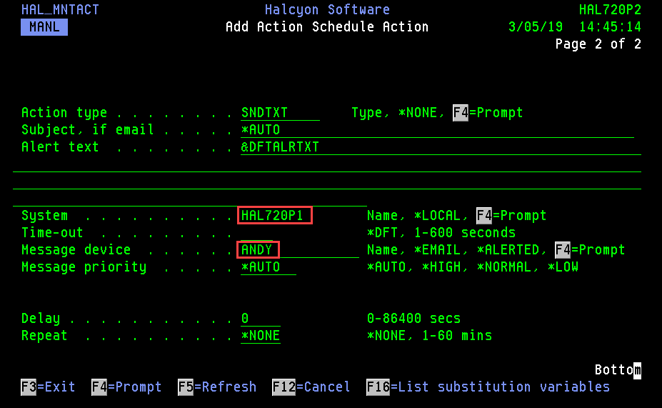Action Schedule Action Configured