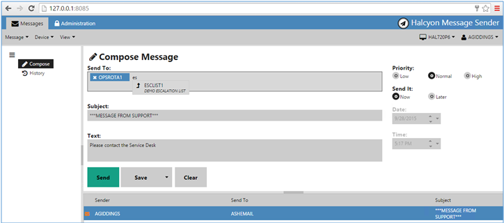 Browser view of Message Sender