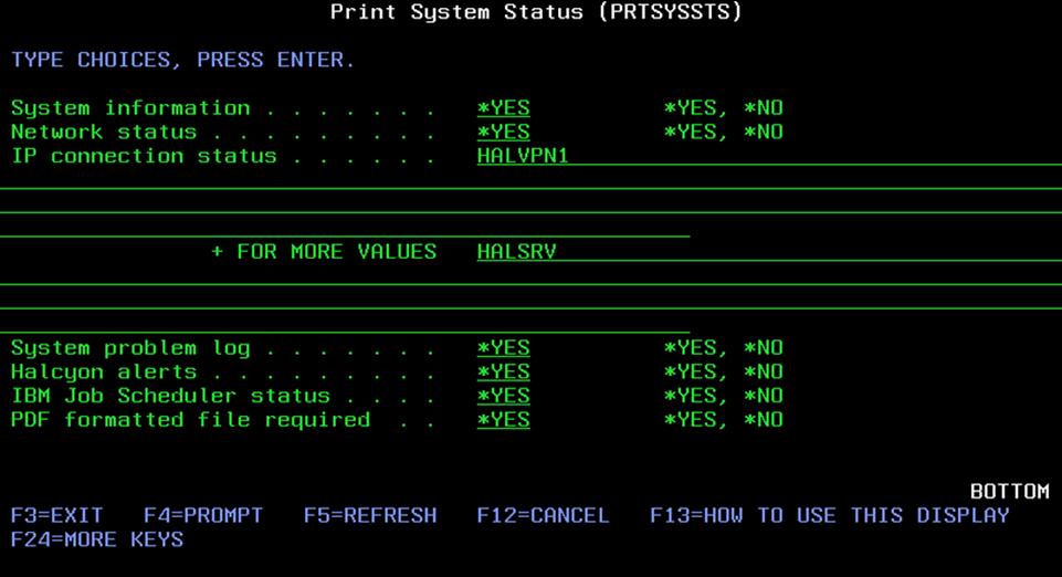Print System Status Display
