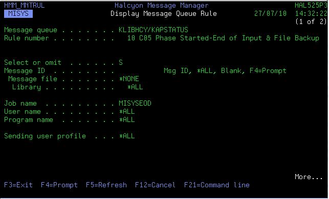 Blank Message From MISYSEOD Job