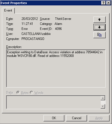 Access violation at address 78544642 in module 'MSVCR90 DLL