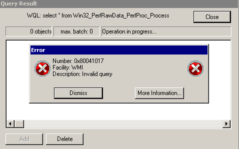 The Repair List for WMI problems · Customer Portal