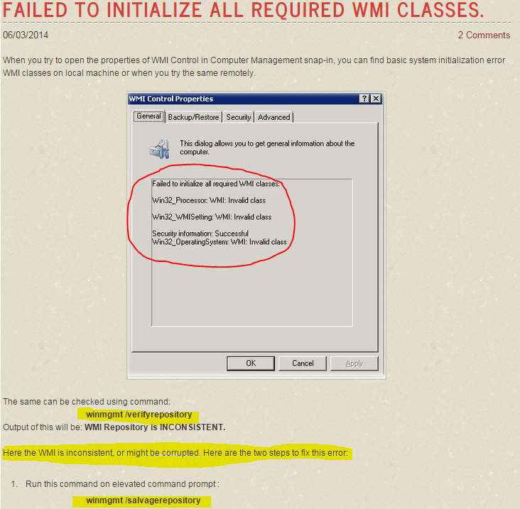 Fix for WMI errors · Customer Portal